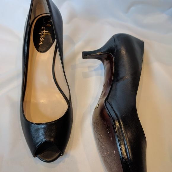 88d07366a Cole Haan Shoes | Nike Air Black Leather Peep Toe Pumps | Poshmark